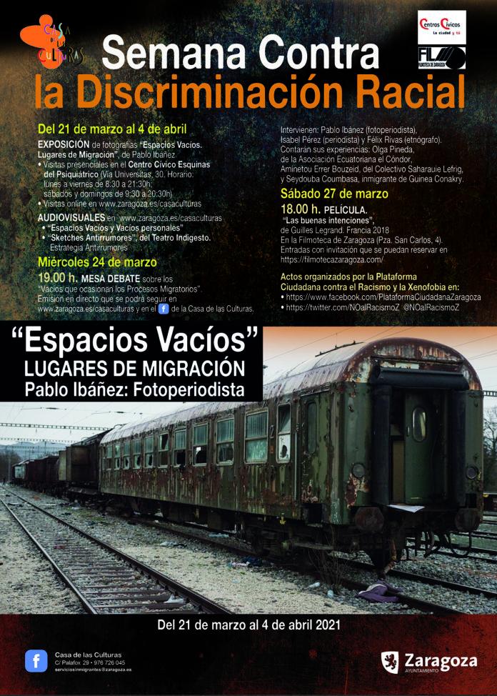 cartel sobre la Semana contra el Racismo, organizada por la Casa de las Culturas del Ayuntamiento de Zaragoza